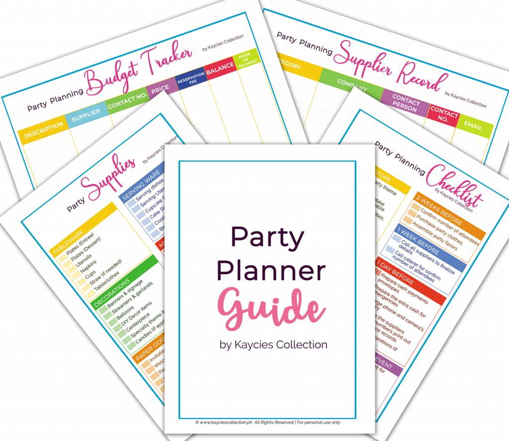 Party Planner Guide Printables